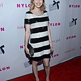 Emma Roberts wore black and white stripes to the event in Hollywood.