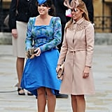 Princesses Beatrice and Eugenie Arrive at the Royal Wedding