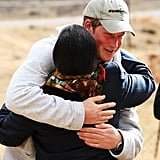 Harry embraced a staff member at the Lesotho Child Counseling Unit in 2008.