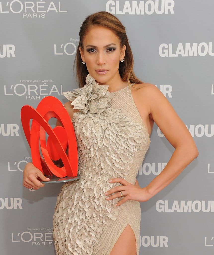 Jennifer Lopez worked a neutral dress on the red carpet.