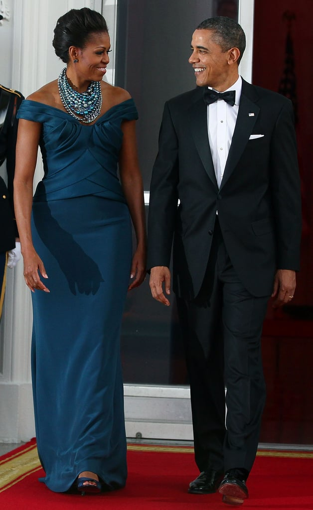 Wearing Marchesa at a state dinner in 2012.