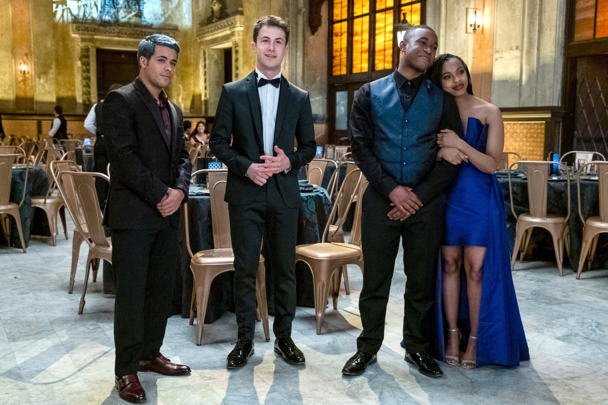 13 REASONS WHY, (aka THIRTEEN REASONS WHY), from left: Christian Navarro, Dylan Minnette, Rj Brown, Grace Saif, (Season 4, ep. 409, aired June 5, 2020). photo: David Moir / Netflix / Courtesy Everett Collection