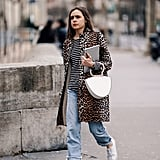 Style Your Leopard-Print Coat With: A Striped Tee, Jeans, and Sneakers