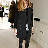 The trendsetter livened up her edgy all-black look with a pair of exotic pumps.