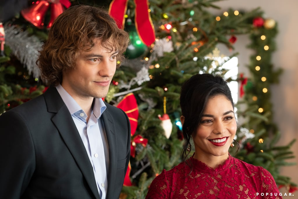 Sir Cole (Whitehouse) and Brooke (Hudgens) are all dressed up for a holiday event — what could it be?