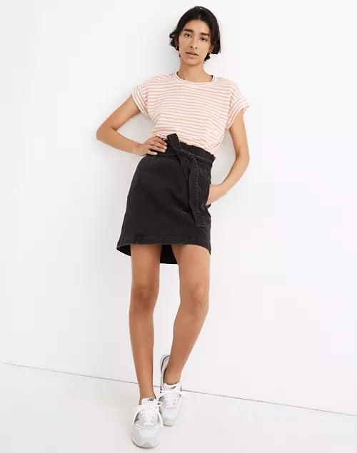 Madewell Stretch Denim Paperbag Mini Skirt in Lunar Wash