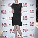 Nicole Trunfio feted the Schutz anniversary in a feminine LBD.