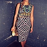 Beyoncé indulged in her Topshop obsession in a tribal-inspired form-fitting top and skirt set. Source: Instagram user beyonce