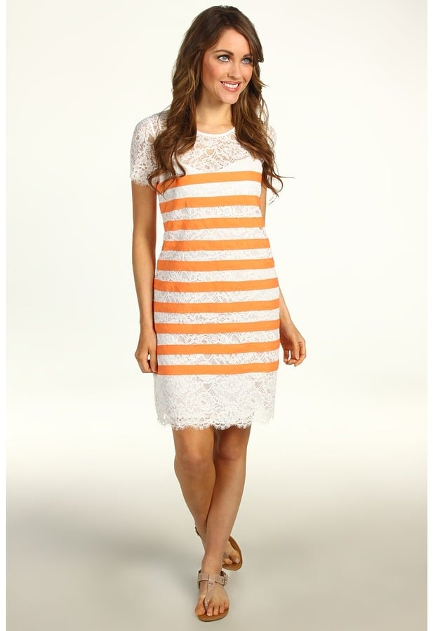 Just in time for Summer, the classic little white dress ($80, originally $228) gets a dose of citrus by way of horizontal orange stripes.