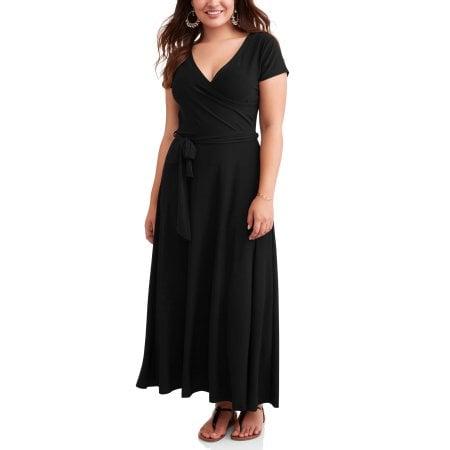 Ella Samani Short Sleeve Classic Wrap Maxi Dress | Plus-Size Dresses ...