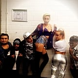 "Miley Cyrus posed with a group of little people before hitting the stage to perform ""We Can't Stop"". Source: Instagram user mileycyrus"