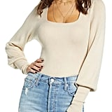Wayf Square Neck Ribbed Sweater