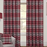 Red Tartan Interlined Thermal Eyelet Curtain Pair