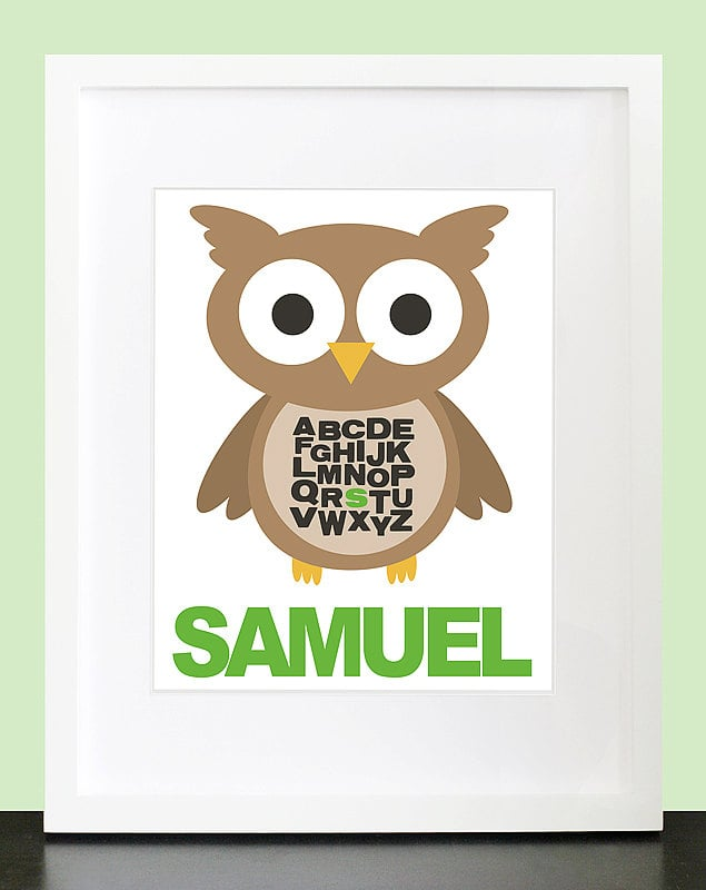 Owl Alphabet Personalized Wall Art
