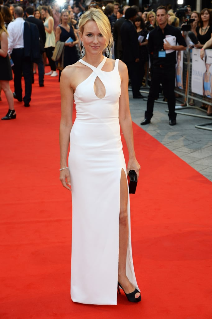 Naomi Watts wore a white Versace dress to the Diana premiere.