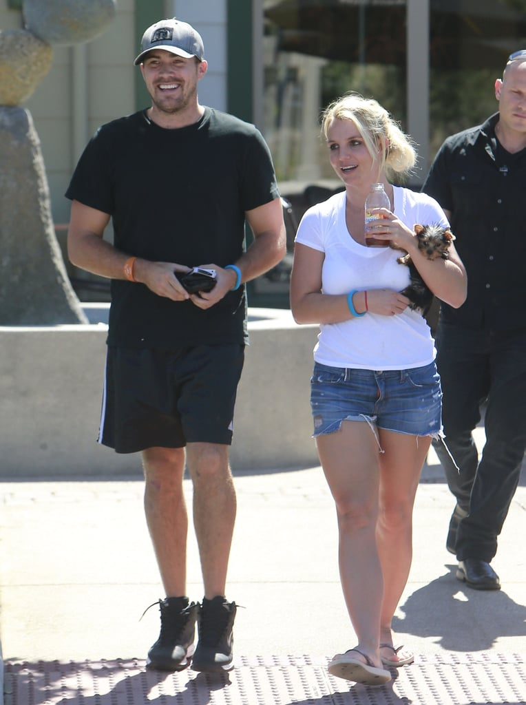 Britney Spears carried her dog Hannah in her arms while out with her boyfriend, David Lucado, in LA.