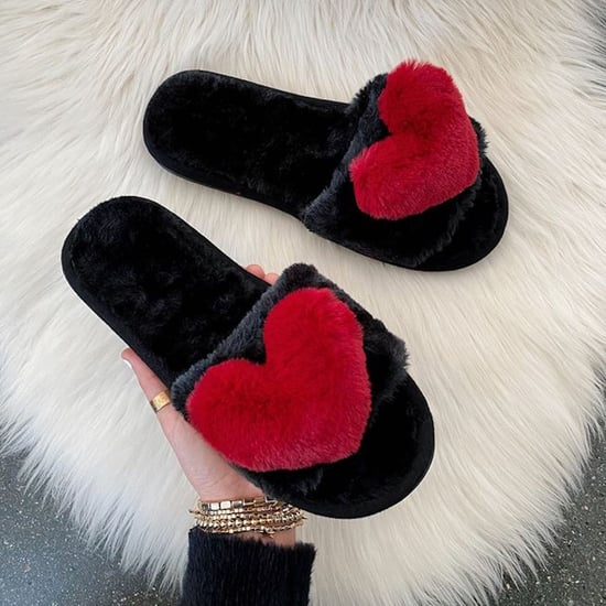 Amazon Heart-Shaped Fuzzy Slippers