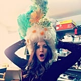 Katharine McPhee joked around with a funny hat. Source: Instagram user katharinemcphee