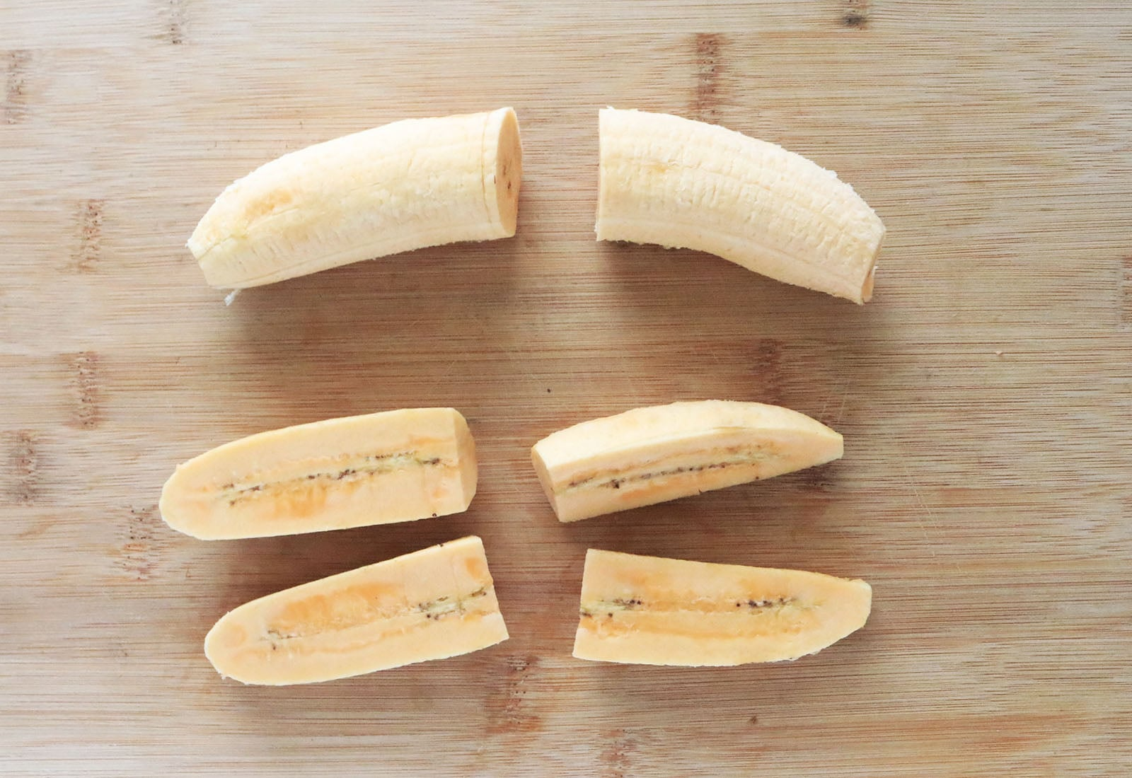 Cut plantain bananas