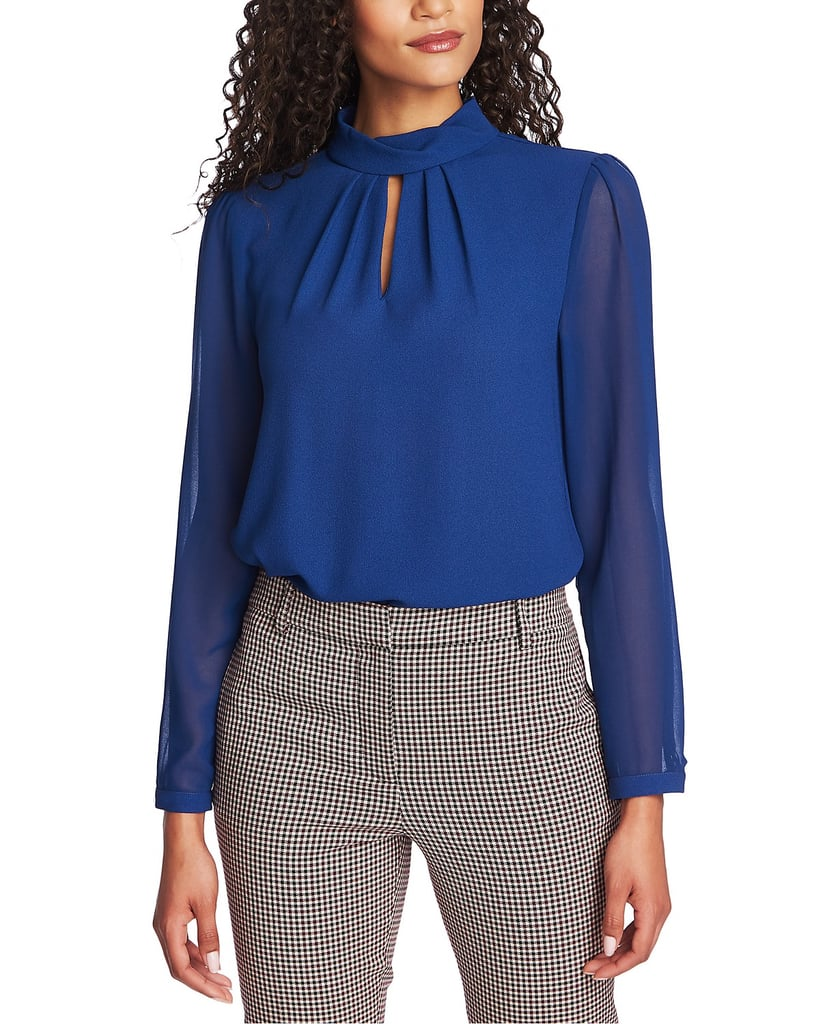 1.STATE Mock-Neck Keyhole Top