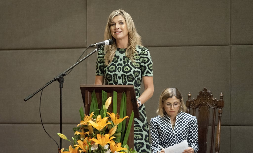 Queen Maxima's Givenchy Leopard Print Dress Oct. 2016