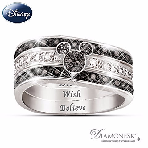 sterling silver mickey mouse hidden message three band engraved ring - Disney Wedding Rings