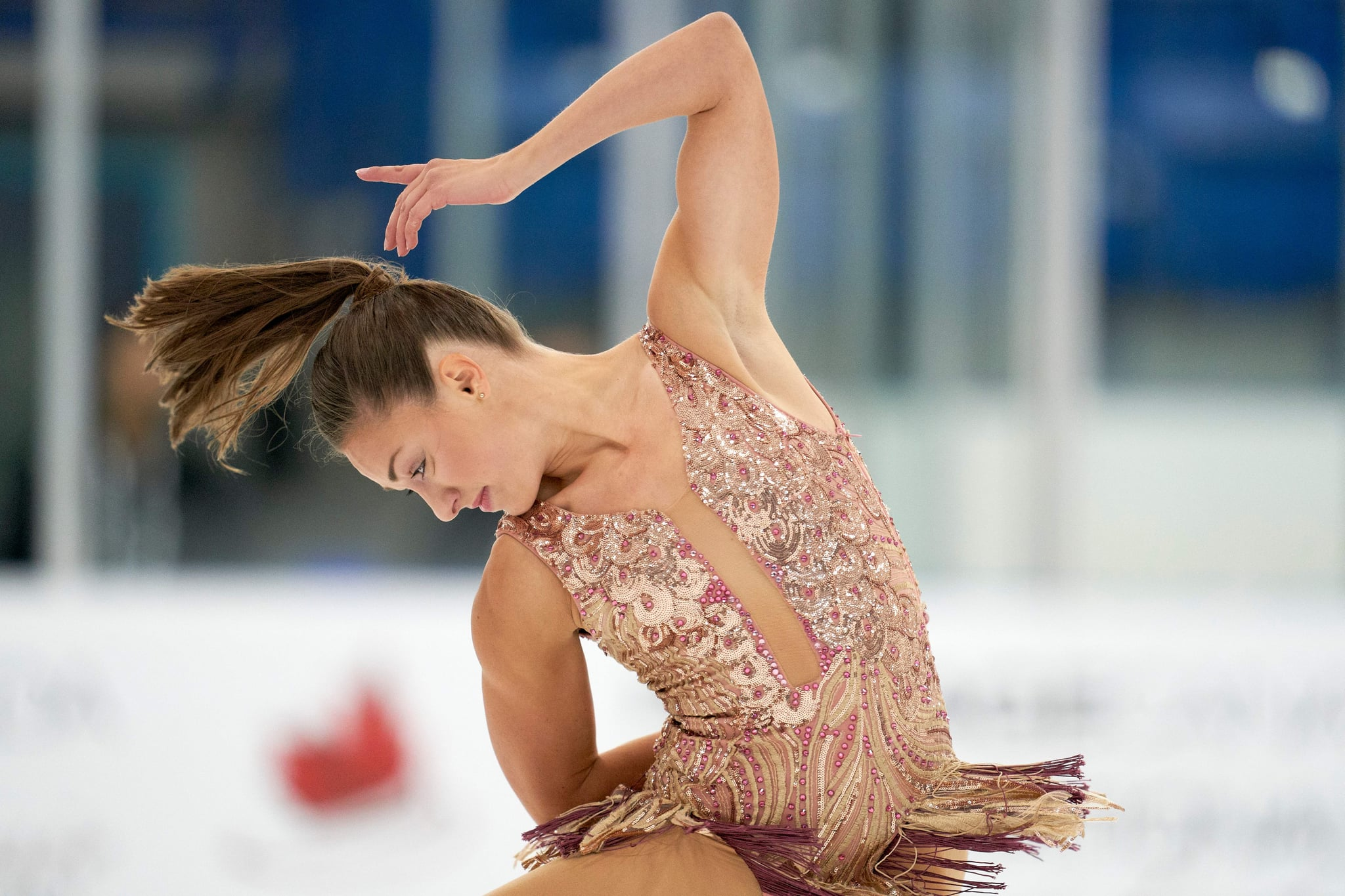 Michelle Long of Canada performs her short program in the womens competition at the 2019 Skate Canada Autumn Classic International event in Oakville, Ontario on September 12, 2019. (Photo by Geoff Robins / AFP)        (Photo credit should read GEOFF ROBINS/AFP via Getty Images)