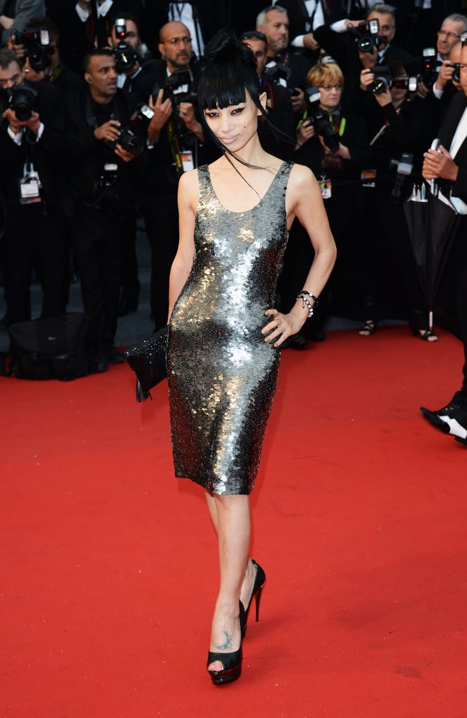 Bai Ling wore a shimmering dress.