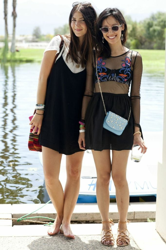 We love how this cute duo channeled the '90s in a baby-doll dress and sheer top.