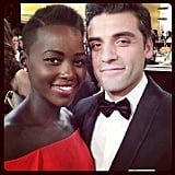 """#GoldenGlobes Checklist: say what's up to #OscarIsaac - CHECK!"" Source: Instagram user lupitanyongo"