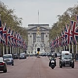 The approach to London's Buckingham Palace is up a street called The Mall.
