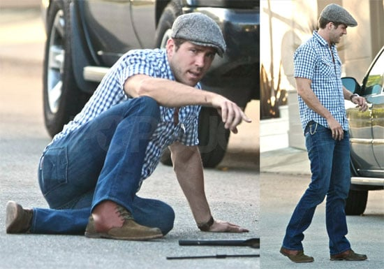 Photos of Ryan Reynolds Fixing Flat Tire in LA, Auctioning Off Wolverine Tickets For Charity