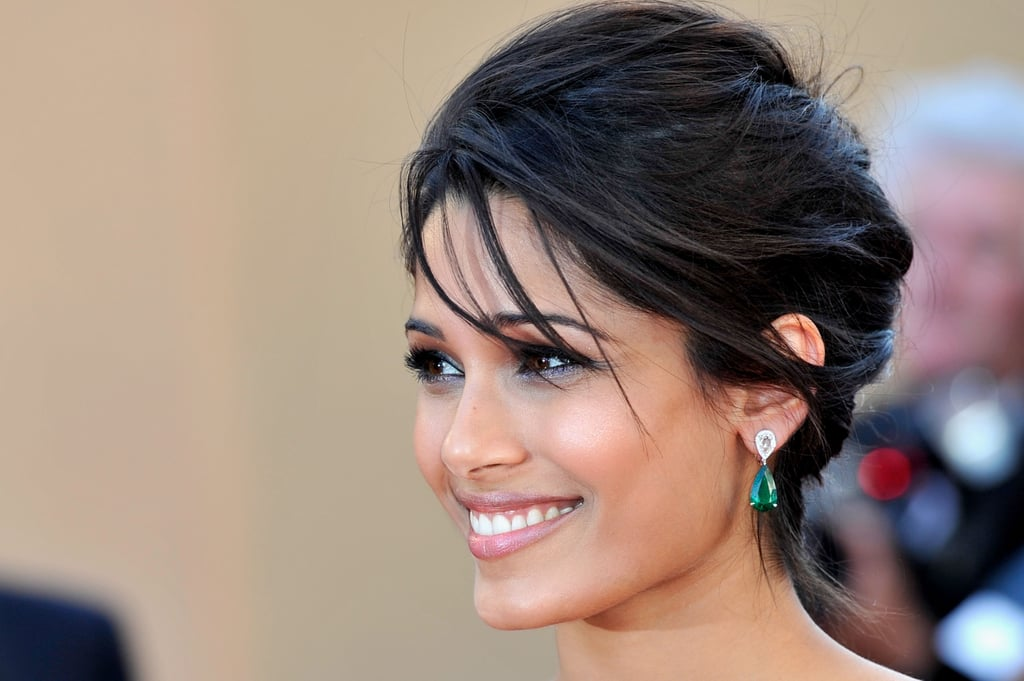Freida Pinto had her hair back at the opening of the Cannes Film Festival and premiere of Moonrise Kingdom.