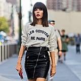 Evangelie Smyrniotaki Wore a Les Coyotes De Paris Jumper With a Leather Skirt