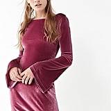 UO Belle Velvet Bell-Sleeve Mini Dress