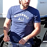 Ben Affleck wore a purple shirt for his day of pre-production work.