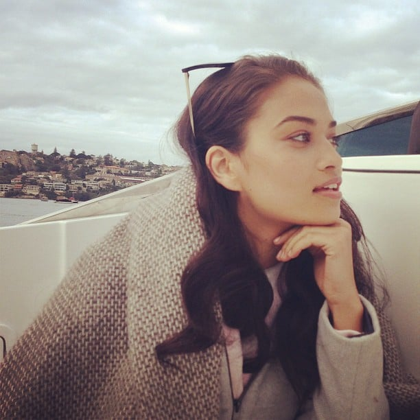 Shanina Shaik was the picture of natural beauty on a boat ride in Sydney. Source: Instagram user stylemeromy