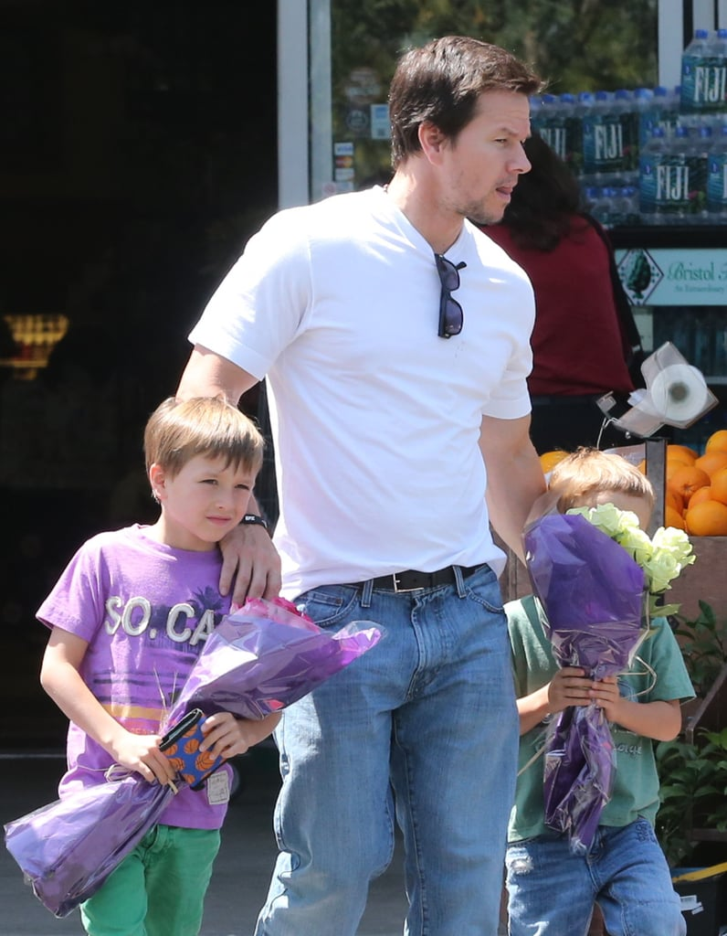 Mark Wahlberg bought flowers with his sons in LA on Monday.