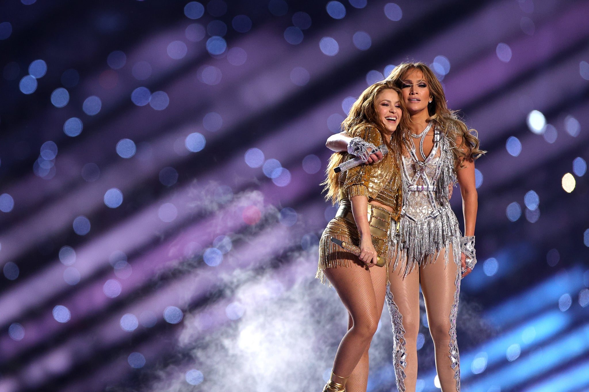 MIAMI, FLORIDA - FEBRUARY 02: Singers Shakira and Jennifer Lopez perform during the Pepsi Super Bowl LIV Halftime Show at Hard Rock Stadium on February 02, 2020 in Miami, Florida. (Photo by Maddie Meyer/Getty Images)