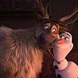 Hopefully you know these guys — it's Sven and Olaf (Josh Gad)!