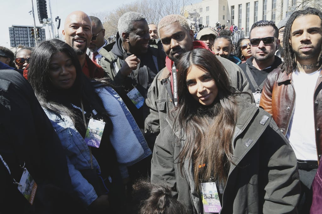 """The West family is standing together against gun violence. On Saturday, March 24, Kim Kardashian, Kanye West, and 4-year-old daughter North West were among the hundreds of thousands of people protesting the need for gun control at March For Our Lives in Washington DC. Earlier in the day, Kim took to Twitter to share how excited she was to march with her family by her side, and from the smile on his face in the photos, it looks like Kanye feels the same way. So ready to March today! Landed in DC w North & Kanye. We stand in solidarity with the survivors of gun violence & students who are calling for action on common sense gun safety laws at #MarchForOurLives around the country @AMarch4OurLives @Everytown— Kim Kardashian West (@KimKardashian) March 24, 2018    The family protested alongside Common and Vic Mensa in Washington DC, with tons of other celebrities showing their support in major cities across the country. """"I'm so happy I got to share this moment with these two ❤️❤️,"""" Kim captioned a sweet photo of North and Kanye. """"I hope North remembers this forever."""" Read on to see the photos of Kim and Kanye at the demonstration, and then, check out the most powerful signs at March For Our Lives rallies across the the country."""