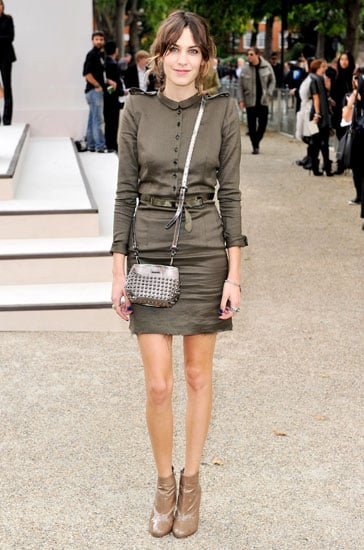 Decked out in Burberry to attend their S/S '11 show during Paris Fashion Week.