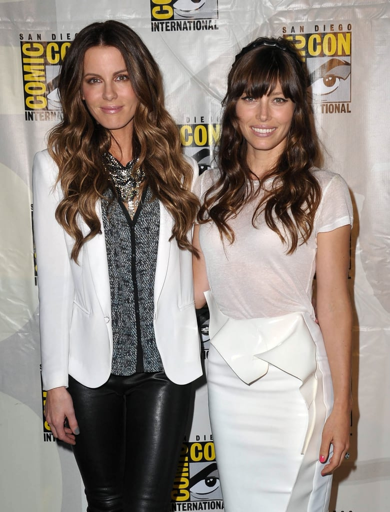 Kate Beckinsale and Jessica Biel were all smiles at the Total Recall event in 2012.