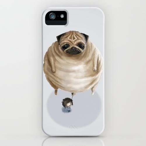 A pug with even more whimsy is a pug balloon phone case ($35).