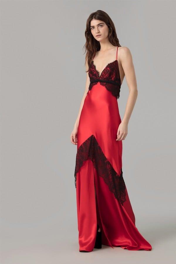 Amanda Wakeley Red Crepe Back Satin Lace Dress | Chrissy Teigen Red ...
