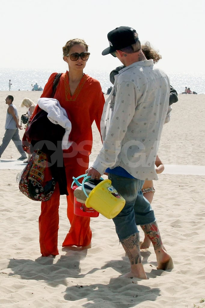 Nicole Richie and Joel Madden took Harlow and Sparrow to the beach in Malibu for Easter.