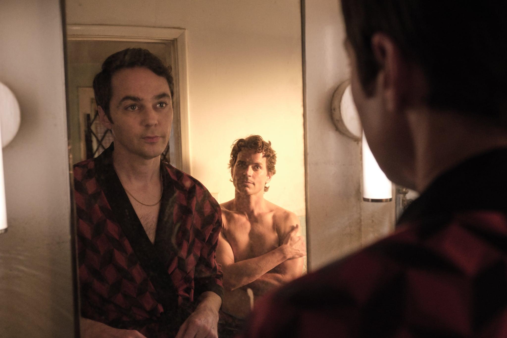 THE BOYS IN THE BAND (2020)Jim Parsons as Michael and Matt Bomer as Donald.Cr. Scott Everett White/NETFLIX 2020
