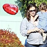 Seraphina left the party with Valentine's Day balloon.
