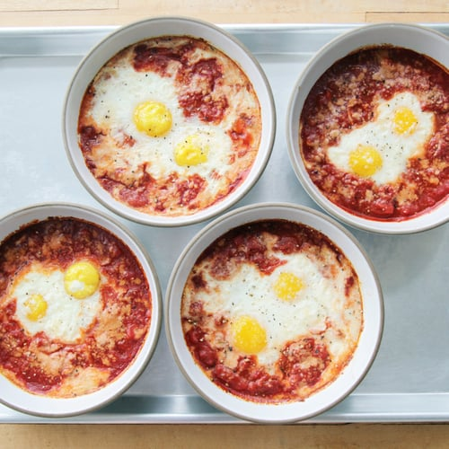 Baked Eggs With Tomatoes and Pancetta | POPSUGAR Food