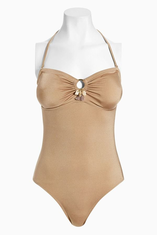 Next Gold High Shine Shell Swimsuit (£30)